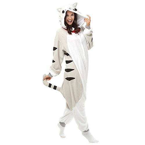 Adult Chis Cat Onesie Fleece Cartoon Sleepwear Cosplay Costume Unisex