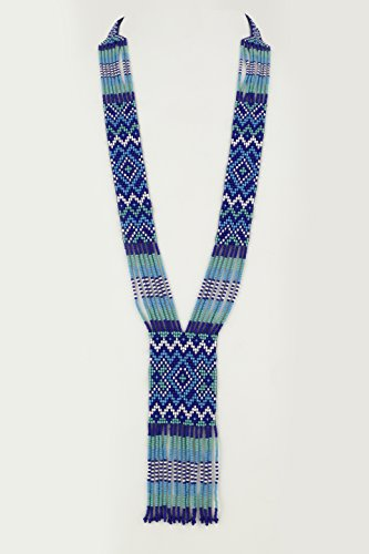 El Allure Native American Style Royal Blue,Turquoise and White Patterned Seed Bead Long Handmade Designer Fashion Costume Seed Beaded Preciosa Necklace for Women. (Royal Blue, Turquoise and White)