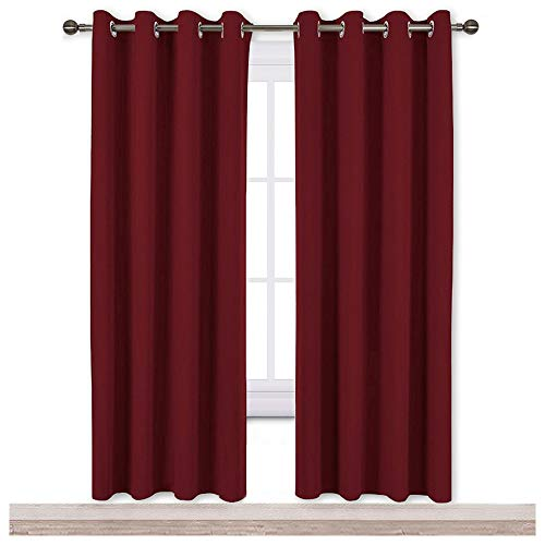 NICETOWN Blackout Curtain Panel Grommet - Home Decorations Thermal Insulated Solid Grommet Top Blackout Living Room Panels/Drapes for Gift (Burgundy Red, 1 Pair, 52 x 72-Inch)