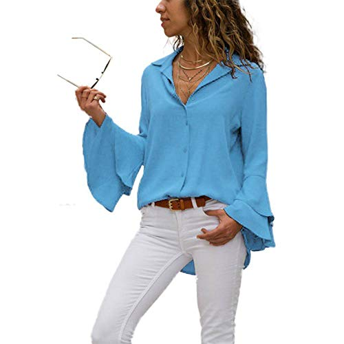 Women's Bell Sleeve Blouse, V Neck Long Sleeve Button Down Cute Chiffon Tops Light Blue