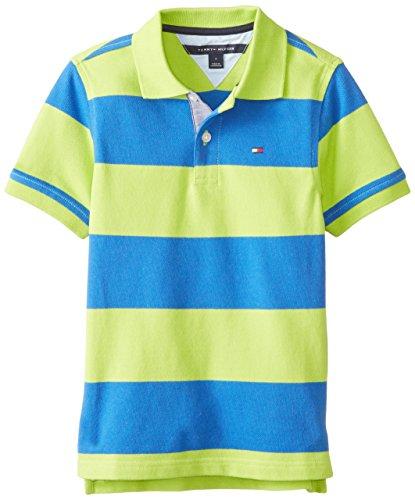 Tommy Hilfiger Little Boys' Short Sleeve Calum Stripe Yarn Dye Pique Polo, Lime Tonic, 06/Regular