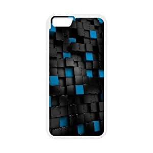 Black And Blue Cubes 3D iPhone 6 Plus 5.5 Inch Cell Phone Case White gift pp001_9402315