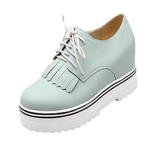 Latasa Womens Chic Tassel Platform Inside Wedge High Heel Lace-Up Oxford Shoes Light Blue Y3FZSrfxo