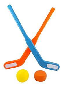 Liberty Imports Face Off Dual Hockey Sticks Youth Sports Set for Kids Puck & Ball (1 Pack)