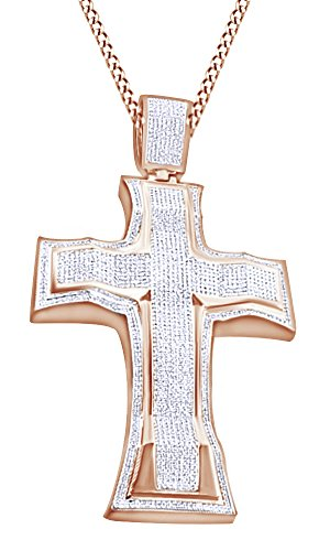 Round Cut Cubic Zirconia Cross Hip Hop Pendant in 14k Rose Gold Over Sterling Silver (3.26 Cttw) by AFFY