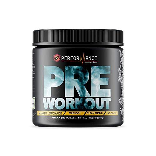 EarthNutri Pre Workout Supplement- Mango Lemonade (528g / Tub, 24 Servings)