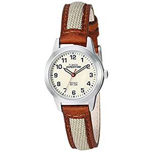 Timex Women's TW4B11900 Expedition Field Mini Brown/Natural Nylon/Leather Strap Watch