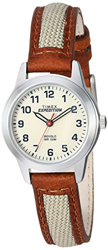 Timex Women's TW4B11900 Expedition Field Mini Brown/Natural Nylon/Leather Strap Watch ()