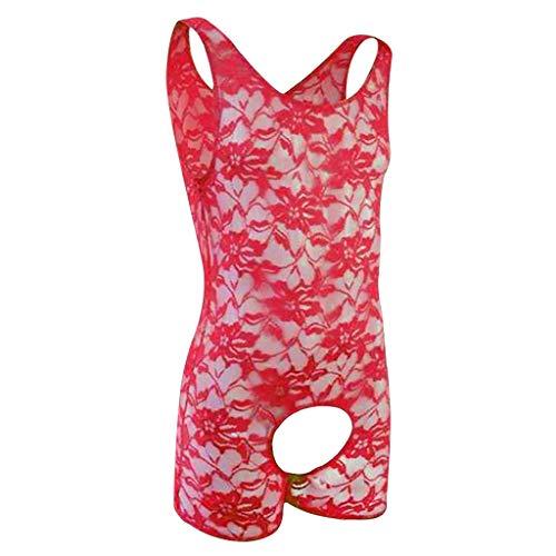 Peigen Underwear Cotton Bra Extender Mens Lingerie Lace Straps Mankini One-Piece V Sling Stretch Singlet Bodysuit