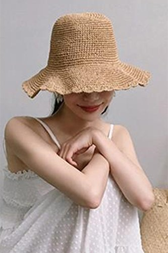 Generic Foldable hand-woven straw hat cap women girls lady Beautiful solid color tie Xiasen shade pots cap straw hat cap rural students (Cap Hand Straw Woven)