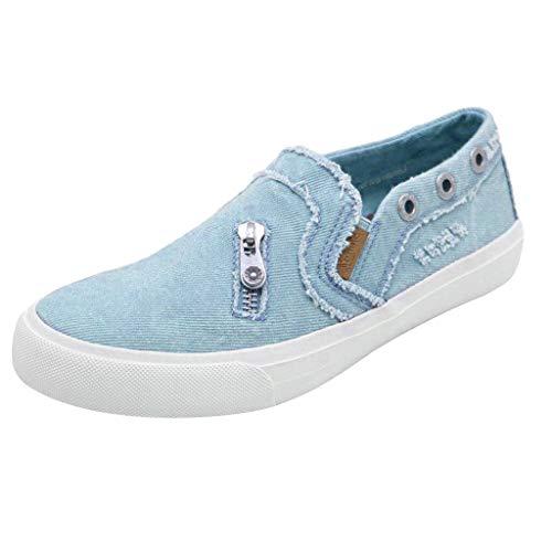 HIRIRI Women's Peas Shoes Summer Flat-Bottomed Casual Flat Shoes Slip-On Loafer Shoes Zipper Beach Shoes Blue -