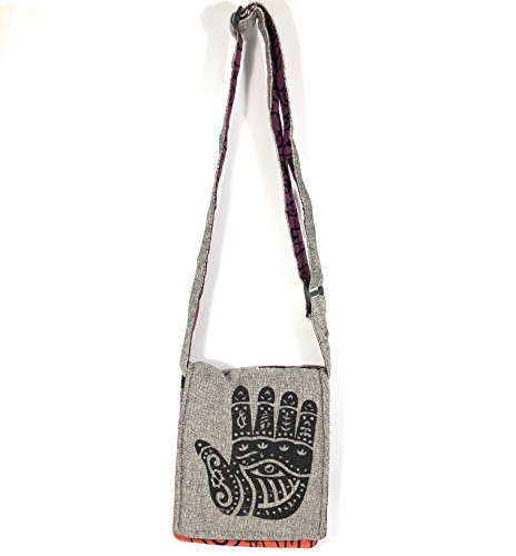 Bohemian Hamsa Hand Striped Cross Body Handbag Purse (Gray with Red Back) (Hemp Bag Handmade Shoulder)
