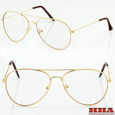 Aviator GOLD STAR Retro Vintage Top Gun Clear Lens Eyeglasses Gold Brown Arm
