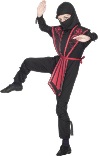 Kids Ninja Costume Uk (Children's Ninja Costume, Black, Size Large Ages 10-12)