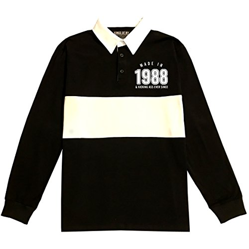 Made In 1988 & Kicking Ass Ever Year Long Sleeve Polo Rugby Shirt X-Large Black - 508 Rugby