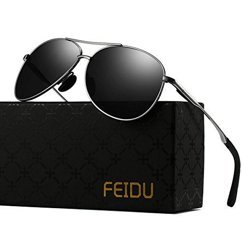 Polarized Sunglasses Aviator Sunglasses for Men - FEIDU Polarized Aviator Sunglasses for Men Sunglasses Man FD9002 (black/silver, 62) (Mens Designer Aviator Sunglasses)