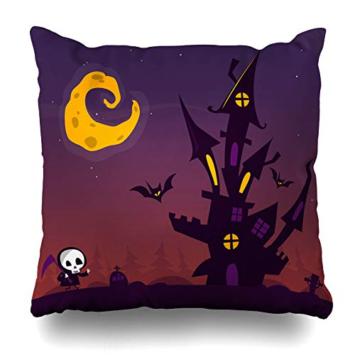 Geericy Decorative Throw Pillow Covers Halloween Poster White Creepy Pumpkins Scare Boo Pumpkin Invit Sticker Halloween Party Cushion Cover 18X18 Inch for Bedroom Sofa