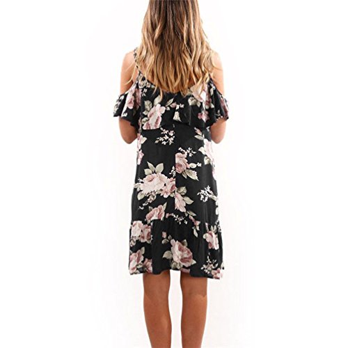 Robes Tunique Femme Chemise Fleur Imprime A De Droite Noir Courtes paules Courte Manches Robe Ample Grande Courte Dnudes Taille Fleurie Manche Robe Robe Fluide Fete Courtes Plage lgante Ete Zwzq5Egx