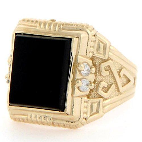 (Jewelry Liquidation 10k Solid Gold 12 X 10mm Rectangular Onyx CZ Mens Ring)