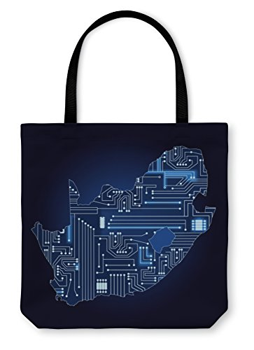 Gear New Shoulder Tote Hand Bag, Map Of South Africa With Electronic Circuit, 18x18, 5912806GN by Gear New