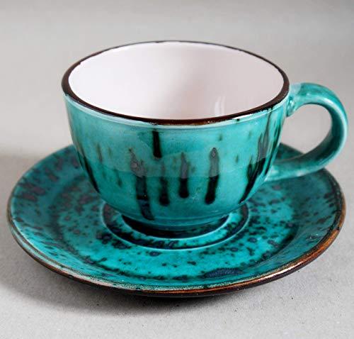 - Ceramic mug with saucer, Handmade pottery tea cup, Coffee lovers gift, Emerald green mug, Tea gift for teacher, bride