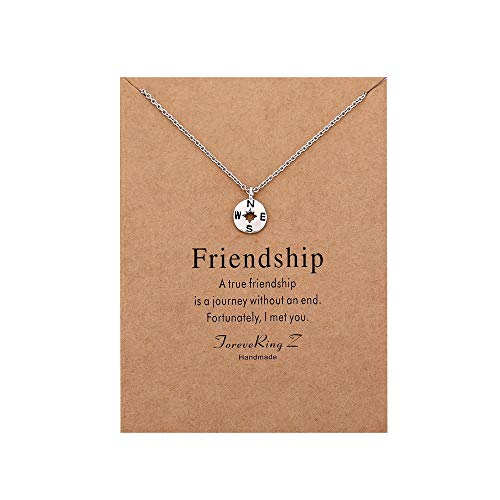 - ForeveRing Z Compass Pendant Necklace Women Jewelry Friendship Gift Disc Choker