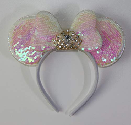 Minnie Mouse Princess ears headband sparkly silver light pink bow sequin Tiara Crown ()