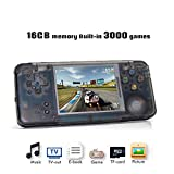 Handheld Game Console, Retro Game Console 16 GB 3000 Classic Games Player, Portable Video Game Console Support GBA / NES / SFC / SEGA / NEOGEO, Birthday Presents for Children - Transparent Black