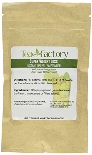 Instant Green Tea Powder - 100% Pure Tea - No Fillers, Additives or Artificial Ingredients of Any Kind 2 ✔ THE BEST GREEN TEA POWDER TO LOSE WEIGHT: Scientific studies have discovered that the main ingredients responsible for green tea slimming effects are caffeine and EGCG (epigallocatechin gallate). ✔ ONE SINGLE INGREDIENT: 100% pure green tea made from ground tea leaves. No flavors, preservatives, colors or fillers of any kind added. Not the diluted, off-tasting chemical filled product you're used to buying in the supermarket. This is as pure as it gets! ✔ HEALTHY ALTERNATIVE TO COFFEE: Minimally processed, and free of additives, Tea Factory Instant Green Tea offers a delicious, easy to consume instant tea that contains over one hundred times more antioxidants as compared to brewed tea.