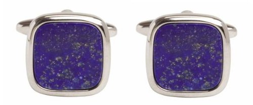 - David Van Hagen Mens Lapis Lazuli Square Cufflinks - Silver