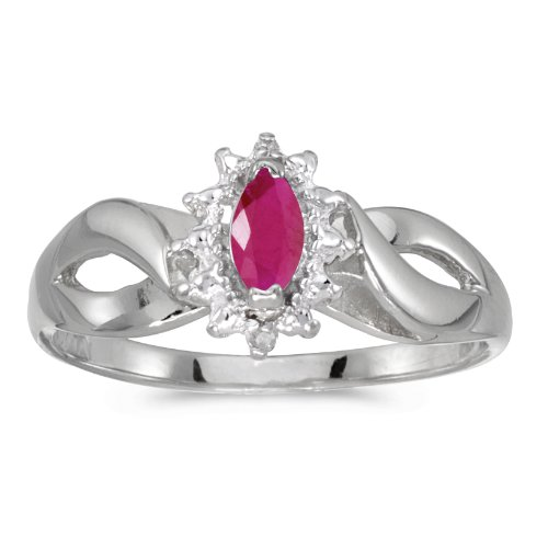 0.21 Carat (ctw) 14k White Gold Marquise Red Ruby and Diamond Solitaire Diamond Infinity Halo Promise Engagement Ring (6 x 3 MM) - Size 9.5 Marquise Diamond Semi Mount Ring