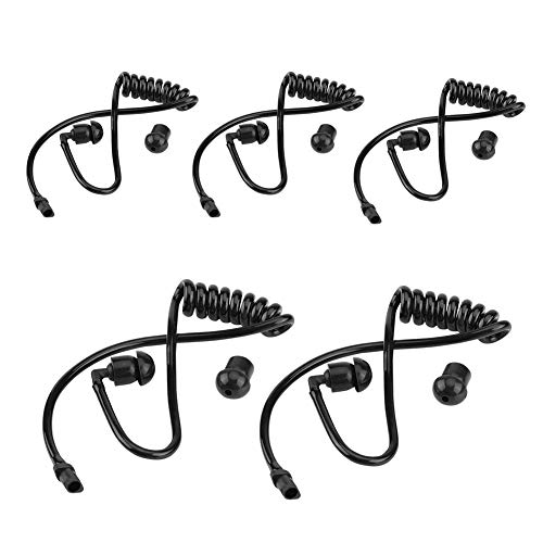 Bewinner Pack of 5 Black Replacement Coiled Ear Tube for Two-Way Radios - Flexible Design, Slingshot Line, Stretchable to Prevent Distortion - Universal Accessory for Two-Way Radio Headphones ()