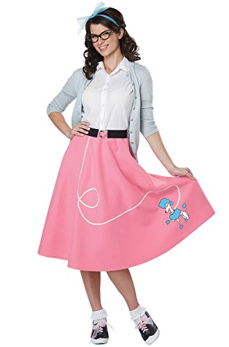 Pink Poodle 50s Adult Costumes Skirt (Womens Pink 50's Poodle Skirt Costume size L/XL 10-14)