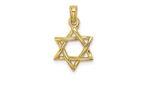 1PC Stainless Steel Jewish Star Of David Pendant With Rhinestone Gold Plated