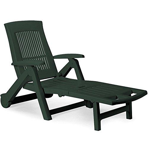 Sonnenliege Liege ZIRCONE Gartenliege Relaxliege Liegestuhl Gartenmöbel Rollliege Kunststoff grün