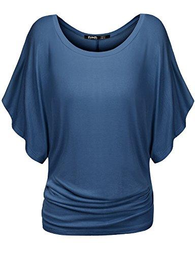 TWINTH Dolman Drape Tunic Plus Size Side Shirring Loose Fit Short Sleeve Top T-Shirts