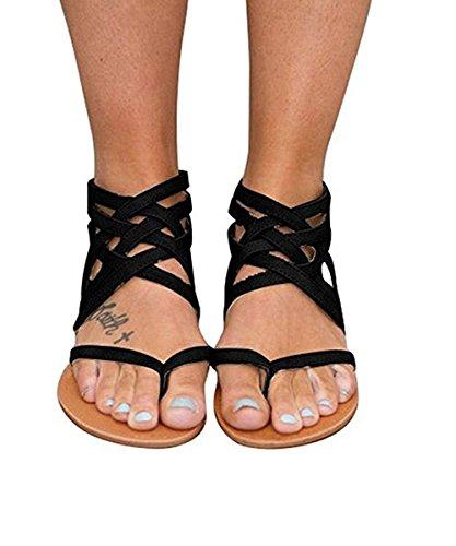 Womens Gladiator Strappy Flip Flops Flat Thong Criss Cross Beach Dress Sandals ()