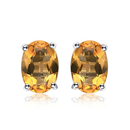JewelryPalace Birthstone Gemstones 2ct Natural Citrine Stud Earrings For Women 925 Sterling Silver Stud Earrings For Girls Oval Cut