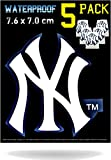 New York Yankees Car Decal Stickers Pack | Waterproof Glossy Finish |Thick NY Emblem Logo Sticker| Uses: Cell Phone Case Laptop Wall Helmet Window Mug Toolbox Lunchbox Hard Hat and Cornhole Boards