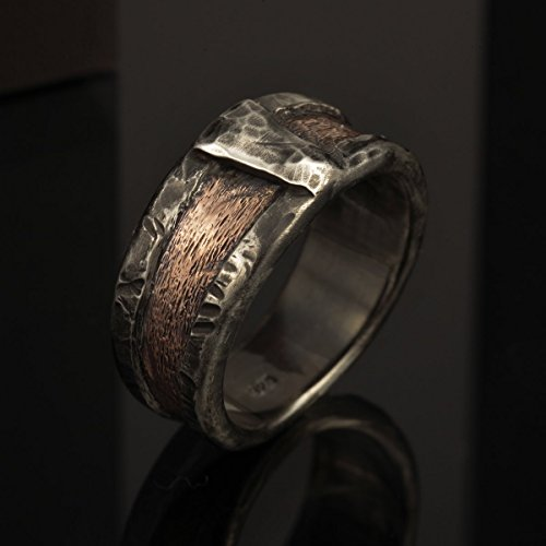 Boho Men's Wedding Band, Rustic Copper Ring, Silver and Copper Ring, Wide Man's Band, 10 mm Copper Engagement ring, Textured Ring, RS-1162 - Textured Copper Ring
