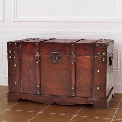 storage inc Baúl grande de madera estilo vintage otomano antiguo ...