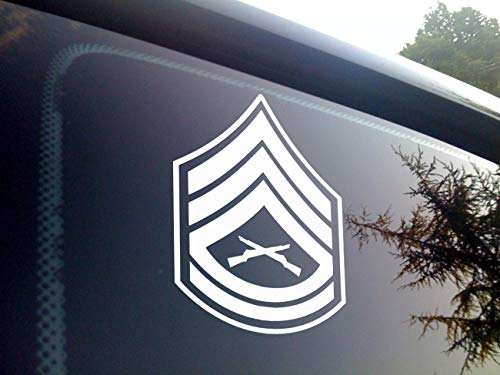 (ViaVinyl USMC Marine Corps. Enlisted Rank Insignia. All Ranks Available with Multiple Color Options! Made in The USA by a Marine Corps Veteran! Ooh rah! (White, E-7 GySgt))