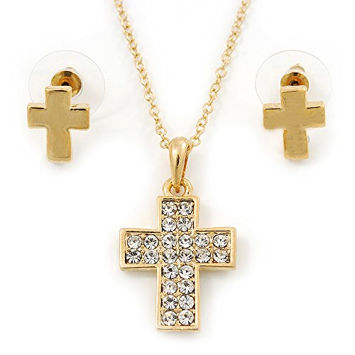 Avalaya Clear Austrian Crystal Cross Pendant with Gold Tone Chain and Stud Earrings Set - 46cm L/ 5cm Ext - Gift Boxed ()