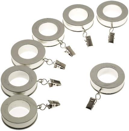 Levolor 装飾的な溝付きリング 直径1インチまでのロッド用 サテンニッケル 7個セット 54565012
