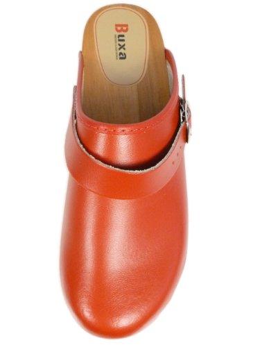 Legno in Cinturino Regolabile Rosso Unisex con Zoccoli Pelle Buxa tqUHAv