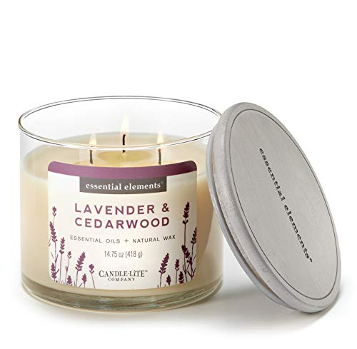Candlelite Scented Lavender & Cedarwood 3-Wick Jar Candle, 14.75 oz, Off Off White