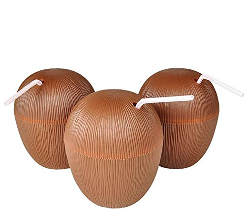 Coconut Drink Cups With Straws (12)