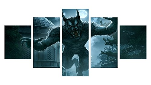 Werewolf Canvas Wall Decor - 5 Pieces Appreciation Wall Art - Oil Painting - Unframed - Room Party Decorations, Halloween Poster Gift #02