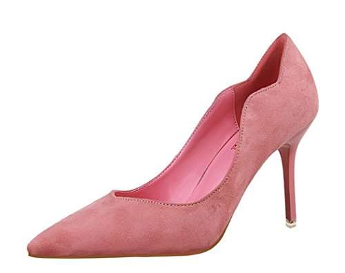 Flirt High Heel Heels (Ryse Women's Fashionable Suede Delicate Elegant Thin High Heels Pointy Shoes(37 M EU/6.5 B(M) US, Pink))