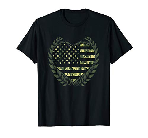 - Camo Heart Stars and Stripes T-Shirt